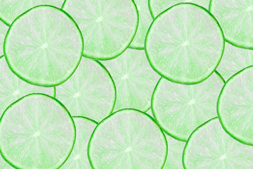 Green limes slices