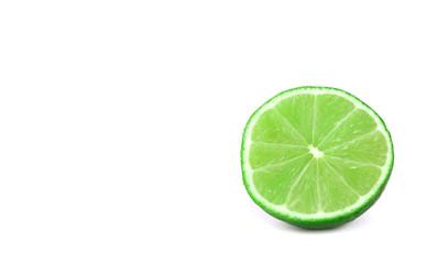 Lime slice on white