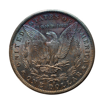 isolated reverse of toned Morgan silver dollar - 1884 O