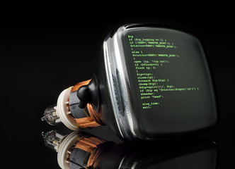 Concept program hacker code on old television tube