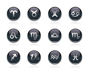 Vector set of black glossy buttons with zodiacal sign