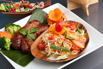 Thai Sausage and Som Tum Salad