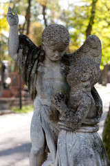 Monument to an angel on a cemetery