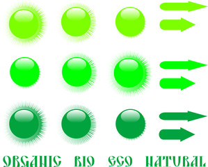 set of green eco icon and arrow