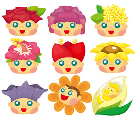 cartoon flower face icon