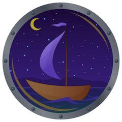 Ship floats at night