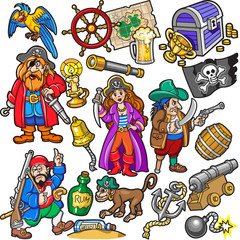 Foto op Plexiglas Piraten Big Colorful Set of Pirates Items, Icons