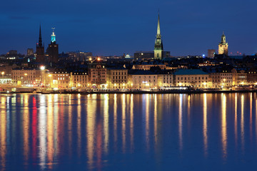 Evening view of the Gamla Stan in Stockholm, Sweden