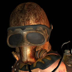Nahaufnahme Frau mit alter Gasmaske