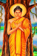 Mural of budda in Nadee temple, Borabue, Mahasarakam