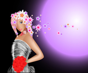 Keuken foto achterwand Magische wereld fashion model. Vector spring girl