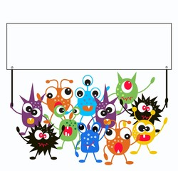 Door stickers Creatures a group of monsters holding a placard