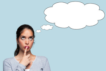 Woman thinking with thought bubbles