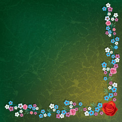 abstract grunge illustration with flowers on green