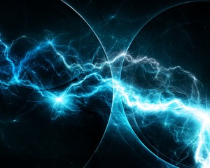 Cyan lightning, abstract electrical background