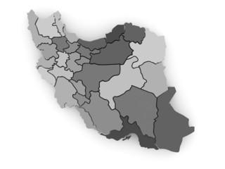 Three-dimensional map of Iran