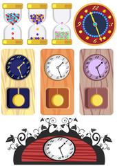 antique pendulum clock, made of different wood
