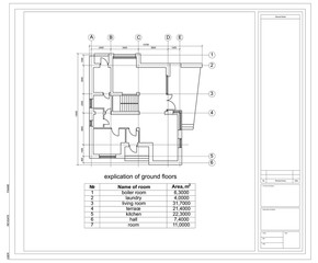 Construction drawing of a house. Vector illustration