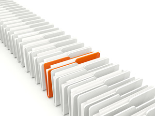 Row of folders isolated on white