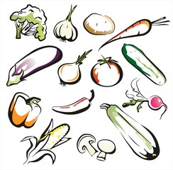 vegetables set of icons in black lines,  aquarelle collors