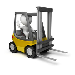 3d small people - forklift