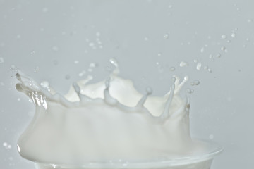 Splash in a milk glass