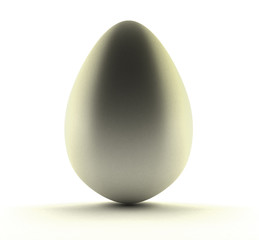 Image of silver egg over white