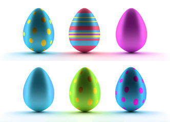 Image of six Easter eggs over white