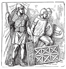 Roman segmented armors and shield old engraving, based on the Tr