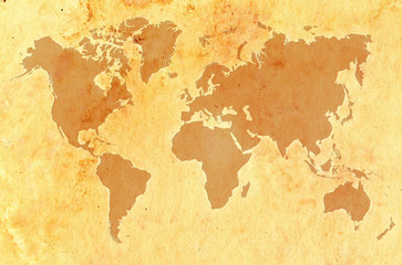 World map on aged grungy paper