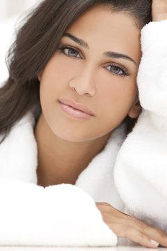 Healthy Beautiful Brunette Woman in Spa Robe