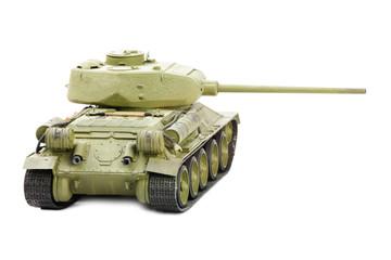 plastic model of soviet tank isolated on white background