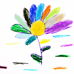 Flower with petals. Child`s picture
