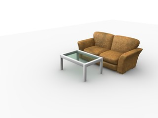 3D sofa and table