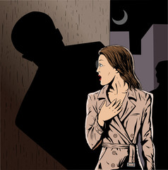 Cartoon of a girl being stalked