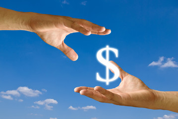 Two hands share the Dollar icon together