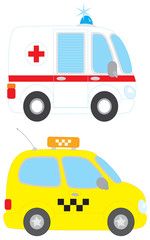 Ambulance and taxi