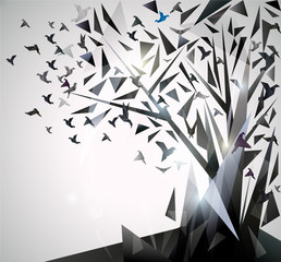 Fotobehang Geometrische dieren Abstract Tree with origami birds.