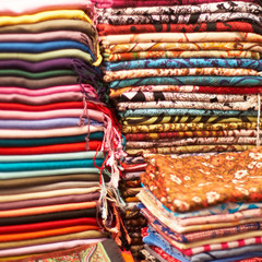 Pile of colorful indian shawls