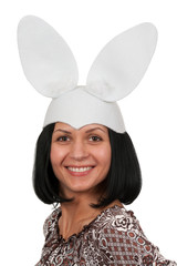 Woman with rabbit ears