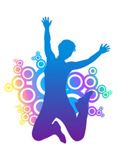 silhouette of jumping woman. rounded ornament behind silhouette.