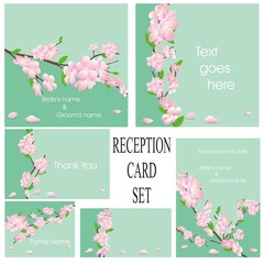 wedding or reception card set in green