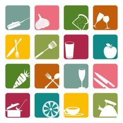Food square icons set