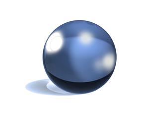 3d glassy ball over white