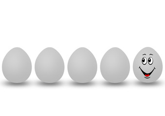 five eggs with one smile face
