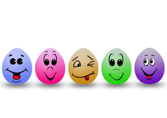 five colour eggs with smile faces
