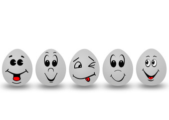 five eggs with smile faces