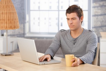 Young man concentrating on laptop screen