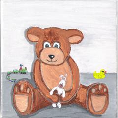 tableau art jeunesse ourson avec jouets