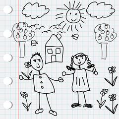Black doodle elements with kids